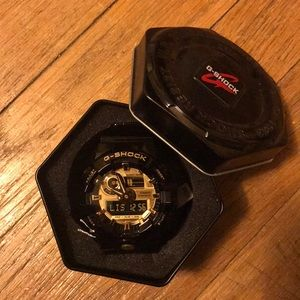 Black and Gold G-Shock sports watch